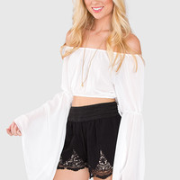 Hannah Crop Top - White