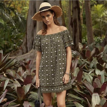 Army Green Off the Shoulder Printed Shift Dress