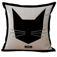 2016 New Hot Black And White Cute Cat Printing Linen Throw Pillow Home Kids Room Decorative Cushion Factory Direct Supply