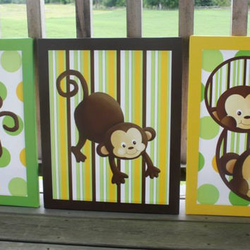 Set of 3 Pop Monkey Stretched Canvases Children's Bedroom Baby Nursery CANVAS Bedroom Wall Art 3CS007