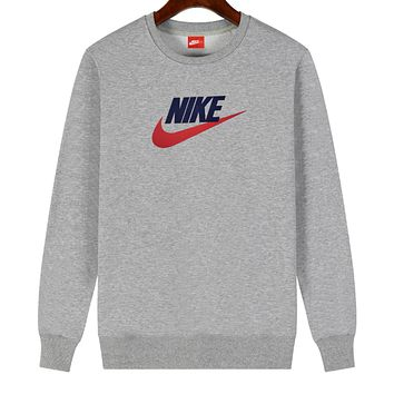 NIKE 2019 new cotton men and women models wild sets of round neck long-sleeved sweater Grey