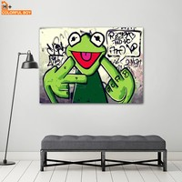 COLORFULBOY Rap Singer Frog Canvas Painting Wall Art Pop Art Posters And Prints Graffiti Wall Pictures For Living Room Decor