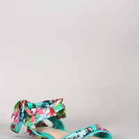 Bamboo Floral Print Ankle Wrap Open Toe Flat Sandal