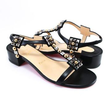 Christian Louboutin 38.5 EU Kaleidra 25mm Black Gold Spikes Sandals Heels A206