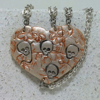 Skull Stamped Puzzle Necklaces Set of 4 Interlocking Necklaces Pearl Polymer Clay