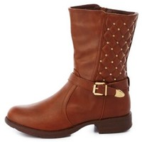 Quilted, Studded & Belted Mid-Calf Boots by Charlotte Russe