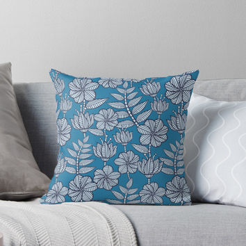 'Nairobi in blue. ' Throw Pillow by juliagrifol