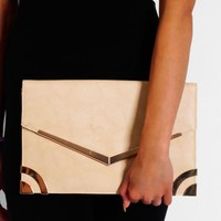 Sloane Square White & Gold Fold Over Clutch Bag | Pink Boutique