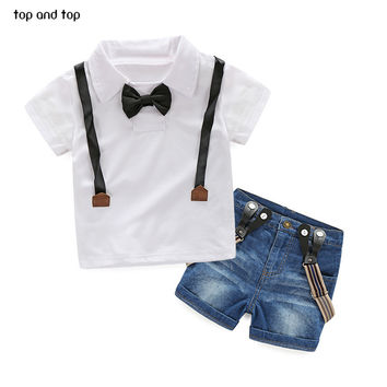 Gentleman Retail young children casual summer boys clothing sets shirt + jeans 2pcs boys