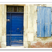 France photography - indigo cobalt blue door provence france beige cornflower blue Fine Art Photograph 8x10 - French Blues