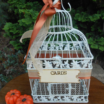 Rustic Fall Harvest Wedding Birdcage Card Holder / Wedding Card Box / Fall Wedding / Large Card Holder / Wedding Birdcage / Burlap Wedding