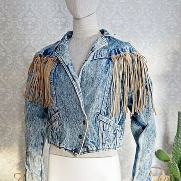 Vintage 1980s Acid Wash + Fringe Denim Jacket