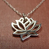 Silver Lotus Flower Necklace by Popsicledrum on Etsy