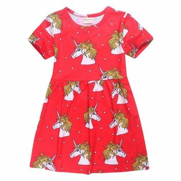Girls Dress Cerise Unicorn Star School Dress Red Unicorn Star princess party Dress White for girls kids clothing bobo choses
