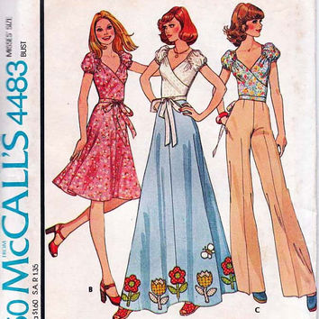 McCall's 4483 Sewing Pattern Retro 70s Boho Hippie Style Wide Leg Pants Maxi Skirt Wrap Shirt Deep V Neck Blouse Puff Sleeves Bust 34