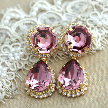 Antique Pink Swarovski chandelier, Pink and white Crystal,Wedding jewelry,mother of the bride - 14k plated gold post earrings