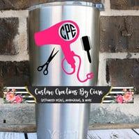 Hairstylist Monogram Decal | Custom Monogram Decal | Car Decal | Hair Dresser | Cosmetology Decal | Hair Salon Decal