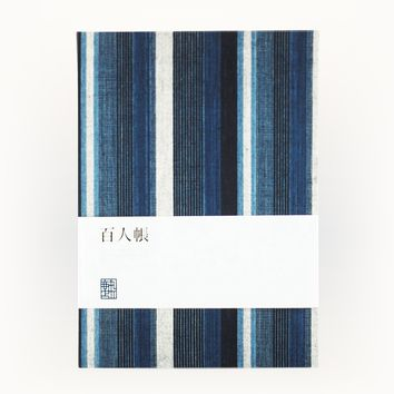 Japanese Indigo Stripe Fabric Bound Notebook
