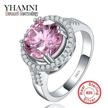 Big Hot Sale Have S925 Stamp Real 925 Sterling Silver Ring Fashion Jewelry 3 Carat Pink CZ Diamant Wedding Rings For Women YR020