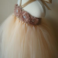 Flower girl dress champagne tutu dress by Theprincessandthebou