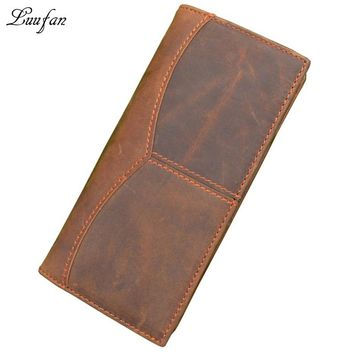 Men's Vintage genuine Leather two fold wallet cowhide cell phone wallet Cow leather long purse with eleven card holders