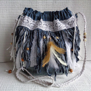 Cross body bag fringe handbag purse Boho Gypsy Hippie Shabby Chic recycled upcycled denim
