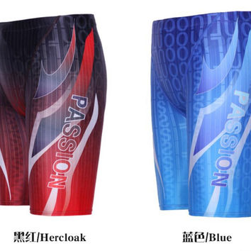 Arena Swimwear Racing Competition Swimsuit Men Competitive Bathing suit swimming sport waterproof Reduce dragTight Shorts Blue