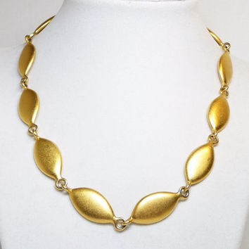 Erwin Pearl Linky Necklace - Goldtone Satin Finished - Designer Signed Jewelry