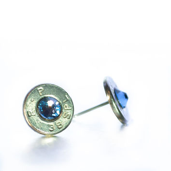 Bullet Stud Earrings - Silver and Light Blue