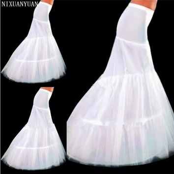 2018 New Hot Sale In Stock Petticoat 2 Hoops White Mermaid Wedding Dress Crinoline Slip Cheap and Good Quality Accessories