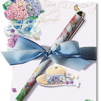 Falling in Love with Hydrangeas Die Cut Notepad and Pen