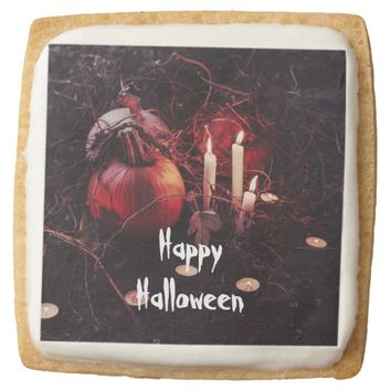 Rustic Halloween Pumpkin and Candles Square Shortbread Cookie