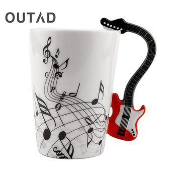 OUTAD Art Ceramic Mug Cup Musical Instrument Note Style Coffee Milk Cup Christmas Gift Home Office Drinkware
