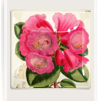 Pink Flower Decoupage Glass Tray