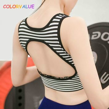 Colorvalue Quick Dry Padded Sports Bra Women Push Up Striped Sport Bra  Anti-sweat Fitness Yoga Bra Athletic Gym Workout Vest