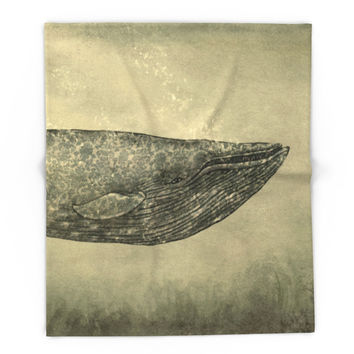 Society6 Damask Whale Blanket