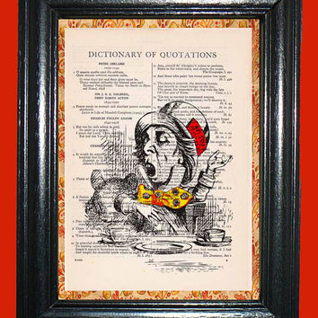 Alice in Wonderland Mad Hatter Tea Party - Vintage Dictionary Book Page Art Upcycled Page Art Dictionary Art Print