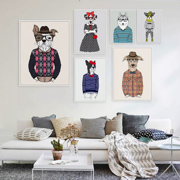 Modern Fashion Animals Cartoon Hippie Dogs A4 Large Art Print Poster Home  Wall Picture Canvas Painting