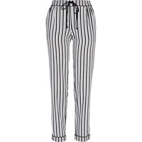 BLACK AND WHITE STRIPE SATIN PYJAMA BOTTOMS
