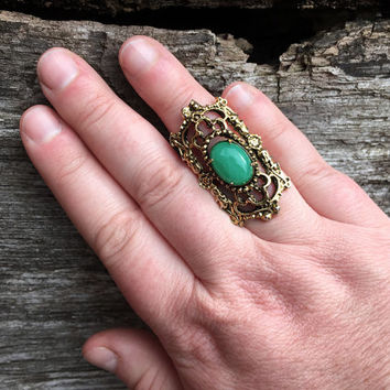 Signed Vintage Statement Ring / Adjustable / Gold Toned Victorian Style Jewelry / Jade Green Cabochon Stone / Boho Bohemian