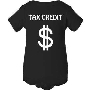 """Tax Credit"" Creeper Baby Onesuit"