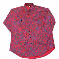 Vintage 90s Pink Paisley Button Down Shirt Mens Size Large