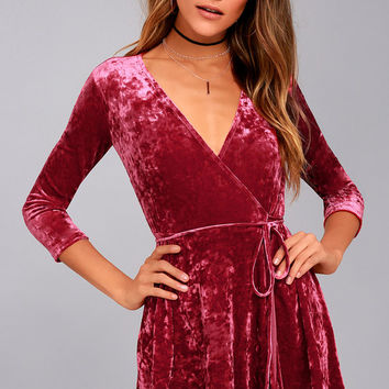 Shine of Your Life Wine Red Crushed Velvet Wrap Dress