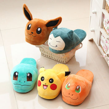 Shoes Woman Anime Cartoon Pokemon Slippers Elf Ball Pikachu Eevee Umbreon Pokemon Plush Shoes zapatos mujer sandals Children