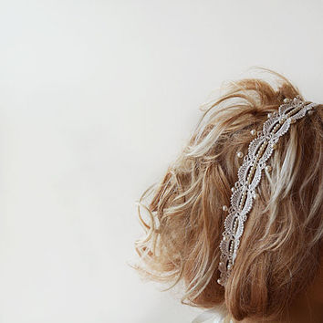 Pearl Headband, Lace İvory Pearl Headband, Wedding Bridal Hair Accessory, Vintage Style, wedding Hair accessory