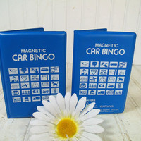 Vintage Magnetic Car Bingo Travel Games Duo - Retro White Iconic Graphics Blue Vinyl Cases - 58 Round Red Yellow Magnets with 2 Game Boards