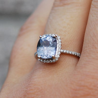Sapphire Engagement Ring 14k White Gold 3.1ct Blue Cushion Sapphire Ring