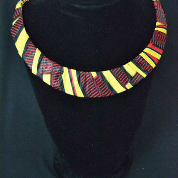 Red and Yellow Ankara Necklace