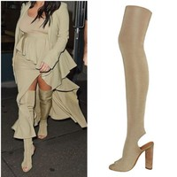 2017 new over the knee boots peep toe spring summer high heels boots thigh high boots women shoes boots sexy