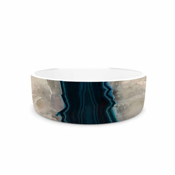 "Sylvia Cook ""Aqua Quartz"" Geological White Pet Bowl"